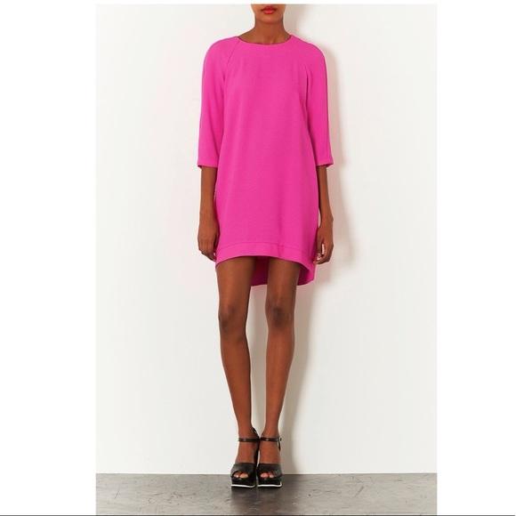 TopShop-Crepe Hot Pink Shift Dress